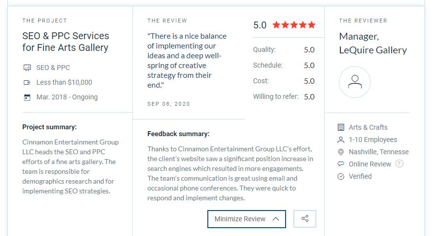 LeQuire Gallery Client Review - Cinnamon Entertainment Group LLC - Nashville SEO Art